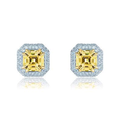 Золотые пусеты Ашер с муассанитами KOJEWELRY™ G5025