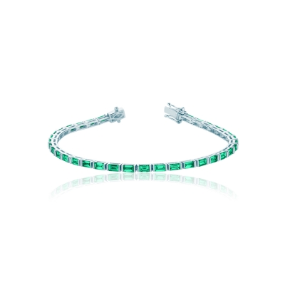 Браслет Tennis buguette серебро 925 зеленый KOJEWELRY™ 50102