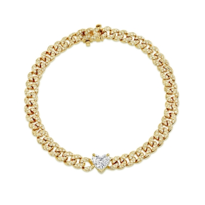 Браслет Mini Pave links 5mm с сердцем by KOJEWELRY™ 20510Y