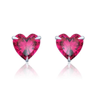Пусеты Hearts mini серебро 925 цвет рубин KOJEWELRY™ 30206
