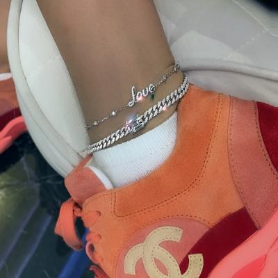 Браслет на ногу Mini Pave links 5mm серебро 925 by KOJEWELRY™ 21200