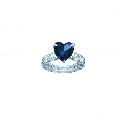 Кольцо дорожка круглой огранки со вставкой HEART цвета Сапфир, серебро 925