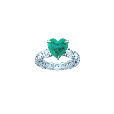 Кольцо дорожка круглой огранки со вставкой HEART цвета Изумруд 1:1, серебро 925. KOJEWELRY™ 610050 / 8