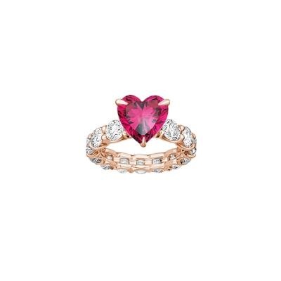 Кольцо дорожка круглой огранки со вставкой HEART цвета рубин. KOJEWELRY ™ 610076 / 8