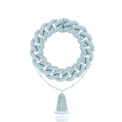 Браслет Pave Chains (15mm звено) с Кисточкой, серебро 925. KOJEWELRY ™ 610077